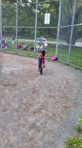 That's B, playing catcher at a t-Ball game.